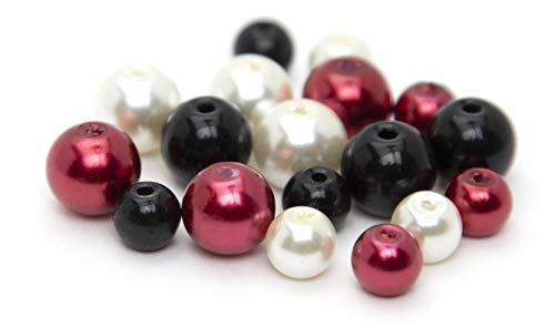Cousin DIY 63512072 Glass Bead Mix, Silver Pearls, Red, White, Black