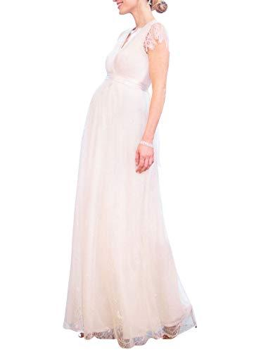 FEOYA Schwangerschaftskleid V-Ausschnitt Umstandskleid Fotografie Spitzenkleid Umstandsmode Dress Flegant Maxikleider - Größe L