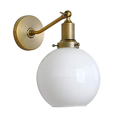"""Permo Industrial Vintage Slope Pole Wall Mount Single Sconce with 7.9"""" Globe Round Milk White Glass Shade Wall Sconce Light Lamp Fixture"""