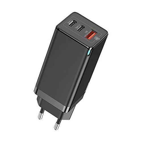Carregador Celular Parede Dual Tipo-C + USB 65w Gan Turbo Baseus Portátil Tomada Smartphone