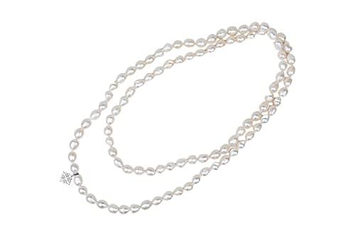 Amaya ARZUAGA - Collar 3 Vueltas Modelo Ivory Moon - Collar de Perlas cultivadas con Acabados en Plata de Ley 925 - Collar para Mujer - Collar