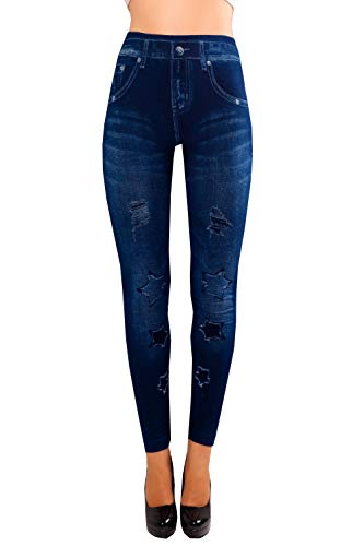 Bongual Damen Jeggings Jeans Optik Leggings Schlupfhose Treggings Sterne, Ethno, Blumen (One Size (36-42), Stern)
