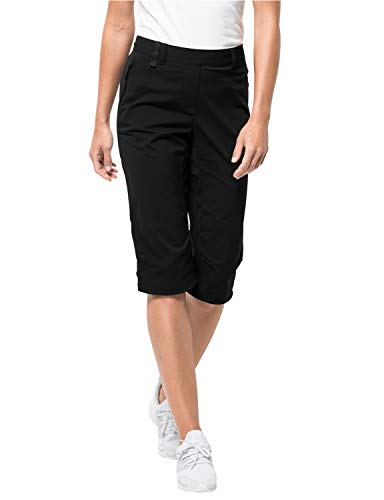 Jack Wolfskin Damen Activate Light 3/4 Pants Elastisch Atmungsaktiv Wasserabweisend Outdoor Softshell Hose, Black, 42
