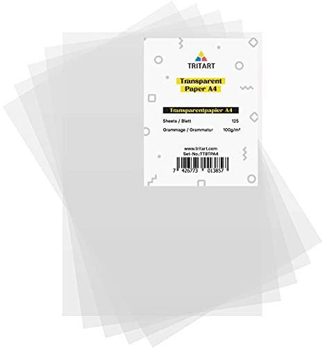 Tritart 125 Hojas Papel Transparente Blanco A4 de 100 g m² Papel Translúcido Calco e Impresión en ambos lados para Manualidades, Bosquejos, Sketchs, y más