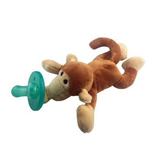 KingbeefLIU Baby Schnuller und Bei?ringe Bei?ringe,Sch?ne Baby Nippel Infant Silikon Schnuller mit Cartoon Tier Pl¨¹sch Puppe Spielzeug - Affe