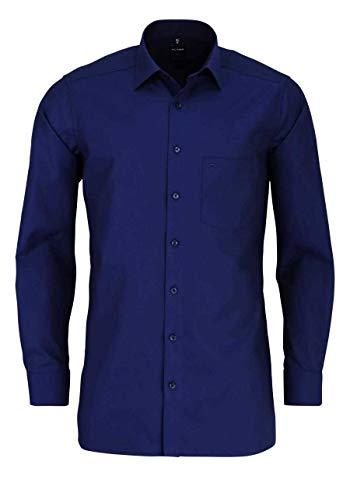 Olymp Luxor modern fit Hemd extra Langer Arm Muster blau Größe 42