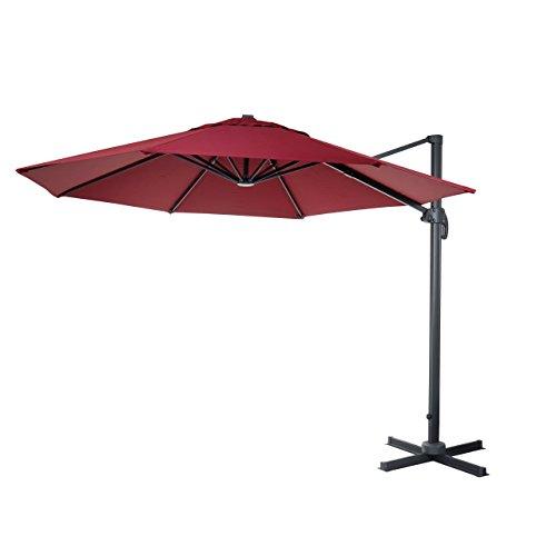 Mendler Gastronomie-Ampelschirm HWC-A96, Sonnenschirm, rund Ø 4m Polyester/Alu 27kg - Bordeaux ohne Ständer, drehbar