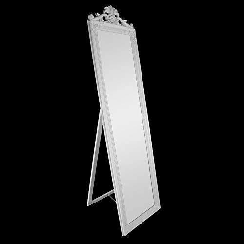 Espejo de montaje de pie, espejo de plástico de cristal de corona, espejo de dormitorio,White