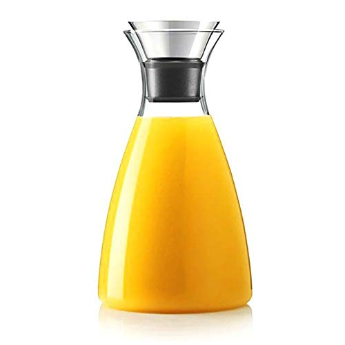 Hiware 50 Oz Glass Drip-free Carafe with Stainless Steel Flip-top Lid, Hot and Cold Glass Water Pitcher, Tea/Coffee Maker & Cafe, Iced Tea, Beverage Pitcher As Well As for Decanting and Serving Wine