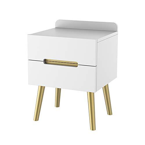 ZZBIQS Mesita de noche de madera, color blanco, mesita de noche con 2 cajones, moderna mesita de noche pequeña para dormitorio (blanco y dorado)