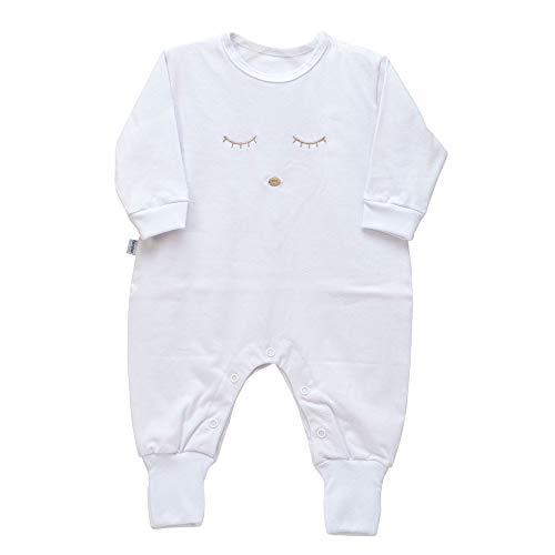 Macacão para Bebê Bordado com Cílios M - Branco, Biramar Baby, Branco