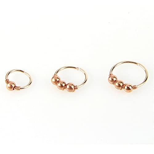 1 unids Gold and Silver Circle Beads Fake Nariz Anillo Hoop Septum Anillos Acero Inoxidable Piercing Piercing Falso Piercing Peding Pendiente Joyería 6.26 (Color : Rose Gold, Size : 6mm)