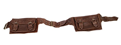 Mens Boys Vintage Leather Messenger Belt Sling School Leather Utility Pouch Fanny Pack Messenger Waist Belt Christmas Black Friday Cyber Monday Thanksgiving New Year Gift for Men & Women (brown)