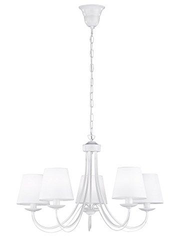 Trio Leuchten Kronleuchter 110600531 Cortez, Metall weiß, Stoffschirm weiß, exkl. 5 x E14