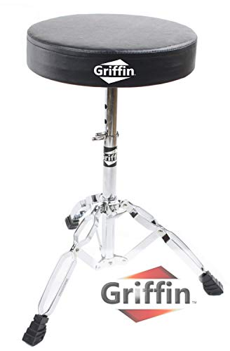 "Drum Throne Stand by Griffin | Padded Drummer's Seat | Comfortable Drum Set Percussion Stool for Adults | Professional Double Braced Hardware Chair for Practice with Adjustable Height from 18"" to 23"""