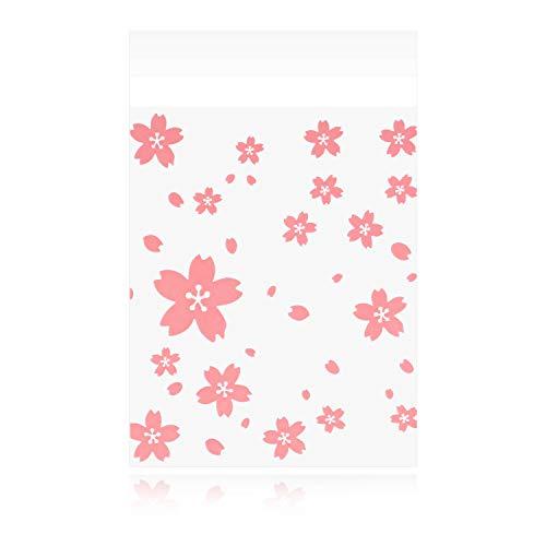 ラッピング袋 小分け袋 小袋 お菓子袋 個包装袋 粘着テープ付き 半透明袋 製菓用品 チョコレート クッキー キャンディー アクセサリー 小物 200枚 Sサイズ 10.2�p×8�p プレゼント ピンク花柄 かわいい 【ショップジョー】