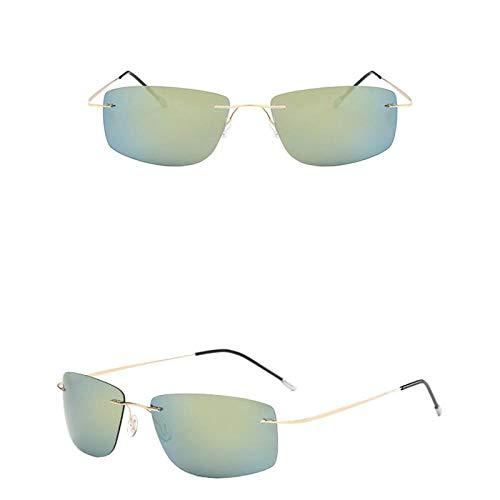 Gafas de Sol Sunglasses Gafas De Sol Sin Montura Hombre Polarizado Lujo Hombre/Mujer Gafas De Sol Clásico Vintage Compras Uv400 Oro Al Aire Libre Oro