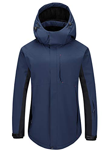 Cycorld Damen-Skijacke-Outdoorjacke, Winddicht Wasserdichte Wanderjacke Warm Fleece Snowboardjacke Softshell Regenjacke (XL, Blau)