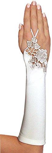 deine-Brautmode Brauthandschuhe Fingerlose Handschuhe, A137 30cm, Ivory