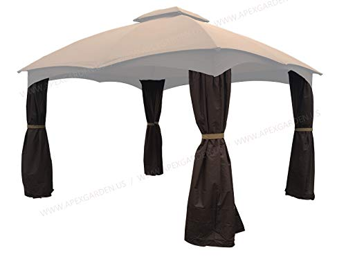 APEX GARDEN 4 Poles Brown Corner Curtain Set for Lowe's 10' x 12' Gazebo Model #GF-12S004BTO / GF-12S004B-1 (Corner Curtains Only) (Brown)