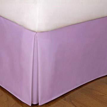 BeddingBasics Falda de cama de algodón egipcio de 650 hilos, estilo clásico, plisada, con volantes, cobertura de tres lados, color lila (137 x 190 cm + 50 cm de caída)