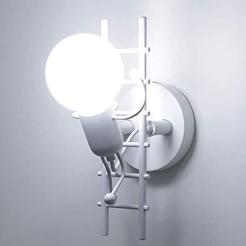 iDEGU - Aplique de pared para interior, diseño moderno, creativo, escalada, humanoide, lámpara de pared para habitación infantil, pasillo, restaurante, escalera, cocina (blanco)