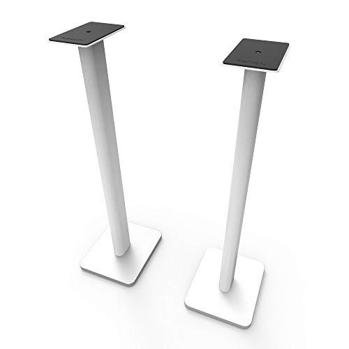 "Kanto SP32PLW 32"" Speaker Floor Stands | Designed for Medium to Large Bookshelf Speakers | Heavy Steel & Foam Padding | 30° Rotating Top Plate | Hidden Cable Design | White | Pair"