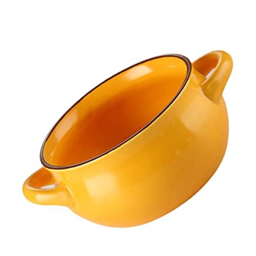 HEMOTON Cuenco de Cerámica con Asas Cuenco de Sopa de Porcelana Cuenco de Pudín Platos para Hornear Ramekins para Crema Brulee Postre Helado