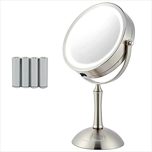 Ovente Circle Lighted Table Top Makeup Mirror 7 Inch 1X 8X Magnification LED Ring Light 360 Adjustable Double Sided Spinning Desk Bathroom Stand Large 4AAA Battery Operated Nickel Brushed MDT70BR1X8X