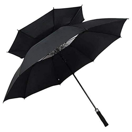 Paraguas de golf de apertura automática Ventilación de gran tamaño A prueba de viento Lluvia a prueba de agua Paraguas de golf portátil Gran toldo doble a prueba de viento (Color: Negro, Tamaño: M) Pa