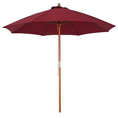 Outsunny Sombrilla Parasol con Poste Desmontable de Madera Ángulo Ajustable Ventilación Sistema de Polea para Exterior Jardín Patio Piscina Terraza Ø257x253 cm Rojo Vino