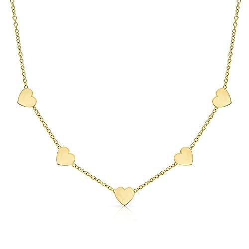 LENIRA® Hochwertige Frauen Halskette - Zarte 5 Herz Kette + Schmuckschachtel (Gold)