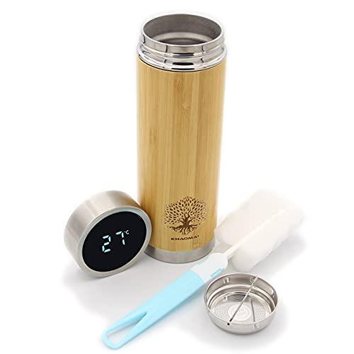 Borraccia termica in bambù con indicatore di temperatura e tappo a LED – Thermos in legno – Bottiglia termica ecologica – Borraccia in acciaio inox – Thermos caffè – Infusore tè
