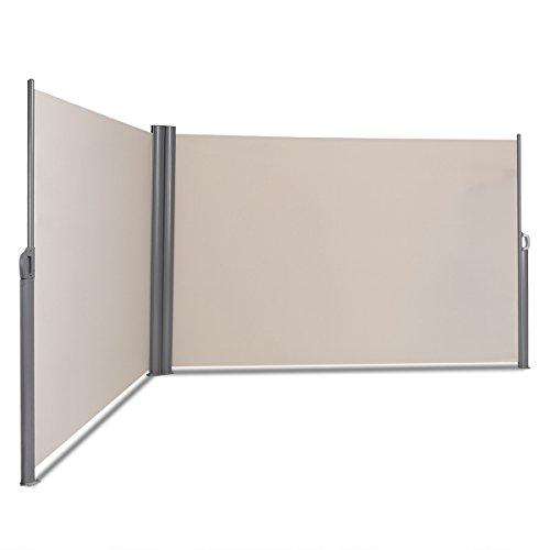 COSTWAY Doppelseitenmarkise ausziehbar, Seitenmarkise Markise Seitenwandmarkise Sichtschutz Sonnenschutz Windschutz für Garten, Veranda und Terrasse (180x600cm, Beige)