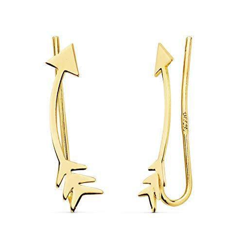 Pendientes Trepadores de Mujer Flechas Oro 18 Kilates