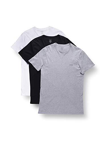 Diesel CREW NECK ESSENTIAL, Camiseta para Hombre, Multicolor (Black / White), L, Pack de 3