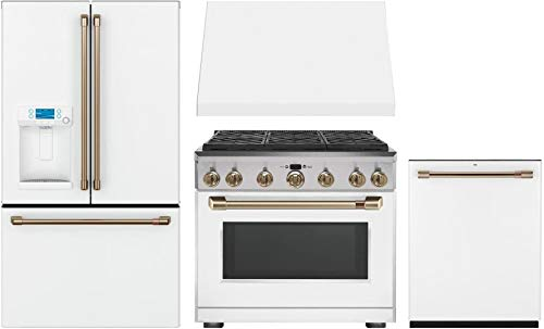 """Price comparison product image GE CAFE 4 Piece Kitchen Package with CFE28TP4MW2 36"""" Smart Fridge,  CGY366P4MW2 36"""" Gas Range,  CVW93614MWM 36"""" Wall Mount Hood and CDT836P4MW2 24"""" Built In Fully Integrated Dishwasher in Matte White"""