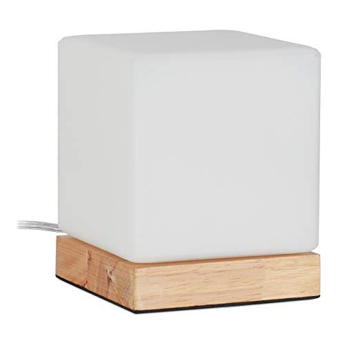 Relaxdays Lámpara de mesa en forma de cubo, E14, pie de madera y vidrio esmerilado, diseño escandinavo, 15 x 12 x 12 cm, lámpara de noche, color blanco