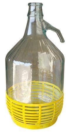 BuyStar (Set 4 PZ) Bottiglione Dama Damigiana in Vetro con Fondo Rivestito in plastica Ideale per Acqua e Vino 5LT Tappo Incluso