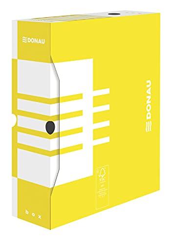 DONAU 7661301FSC-11 - Caja archivadora de cartón reciclado estable, 20 unidades, A4/100 mm, ancho de lomo: amarillo, certificado FSC®