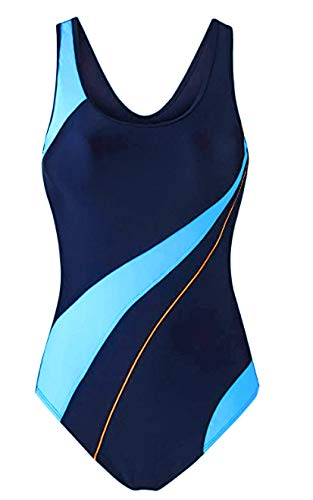 EBMORE Womens One Piece Swimsuit Bathing Suit Chlorine Resistant for Athletic Sport Training Exercise(Blue & Navy 4-6)