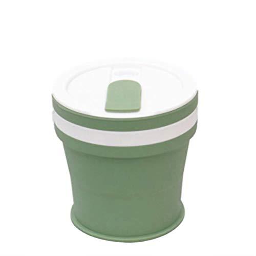 KYSM Silicone Tasse À Café Pliante Portable Extérieure Verte Eau Tasse Petite Tasse À Thé 350ml Lac Vert (Couvercle Plat)