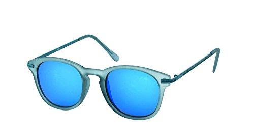 Chic-Net des Lunettes de Soleil Rondes Sun Glasses 400UV Pont Serrure Retro lanière Grise réfléchissante
