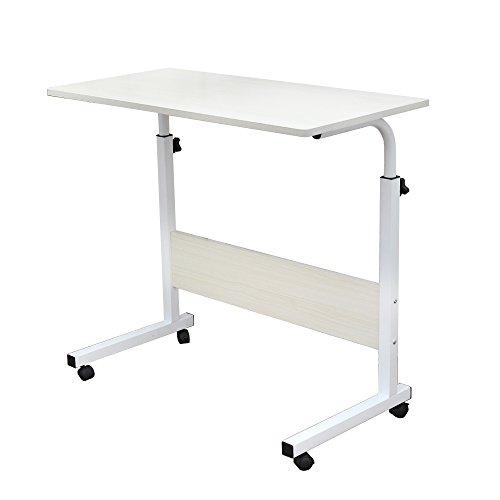 DlandHome 80 * 40cm Computertisch Schreibtisch Laptoptisch Beistelltisch mit Rollen höhenverstellbar, Laptop Notebook Ständer Tisch Frühstück Tablett für Bett, Sofa, Couch Ahorn