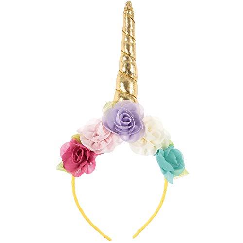 Cupcinu Diadema de flores de unicornio Tocado de mujer niña niño Banda de pelo fiesta de navidad (Oro 1)