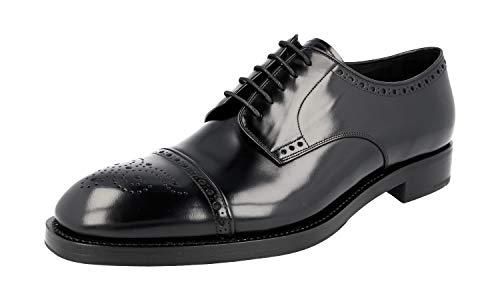 Prada Herren Schwarz gebürstetes Spazzolato-Leder Leder Business Schuhe 2EA134 44 EU/UK 10