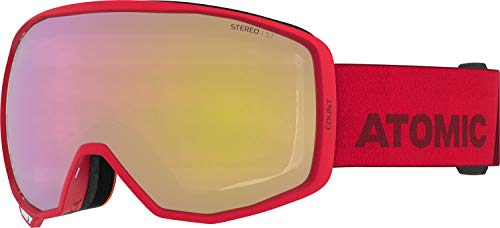 Atomic, All Mountain-Skibrille, Unisex, Für wolkiges Wetter, Medium Fit, Kompatibel mit Sehbrille, Count Stereo, Rot/Pink-Gelb Stereo, AN5106046