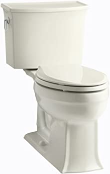 KOHLER K-3551-96 Archer Comfort Height Two-Piece Elongated 1.28 GPF Toilet with AquaPiston Flush Technology and Left-Hand Trip Lever Biscuit