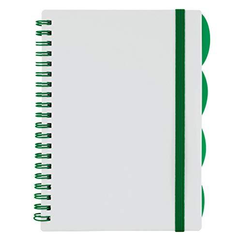 Cuaderno de espiral de 12,7 x 17,7 cm, encuadernado con alambre con 4 divisores, cubierta de plástico, 80 hojas a rayas/160 páginas en total, correa elástica #MP499