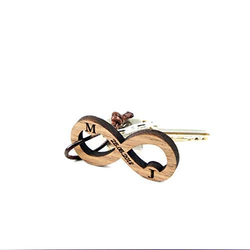 Schlüsselanhänger Holz mit Gravur Schlüsselring Schlüsselband für Auto Haustür Bike (Unendlichkeitszeichen)